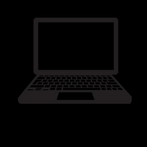 Icon of black laptop.